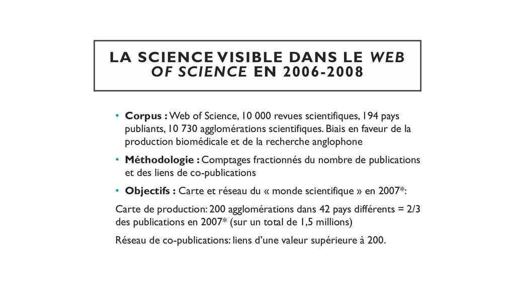 LA SCIENCE VISIBLE DANS LE WEB OF SCIENCE EN 20...