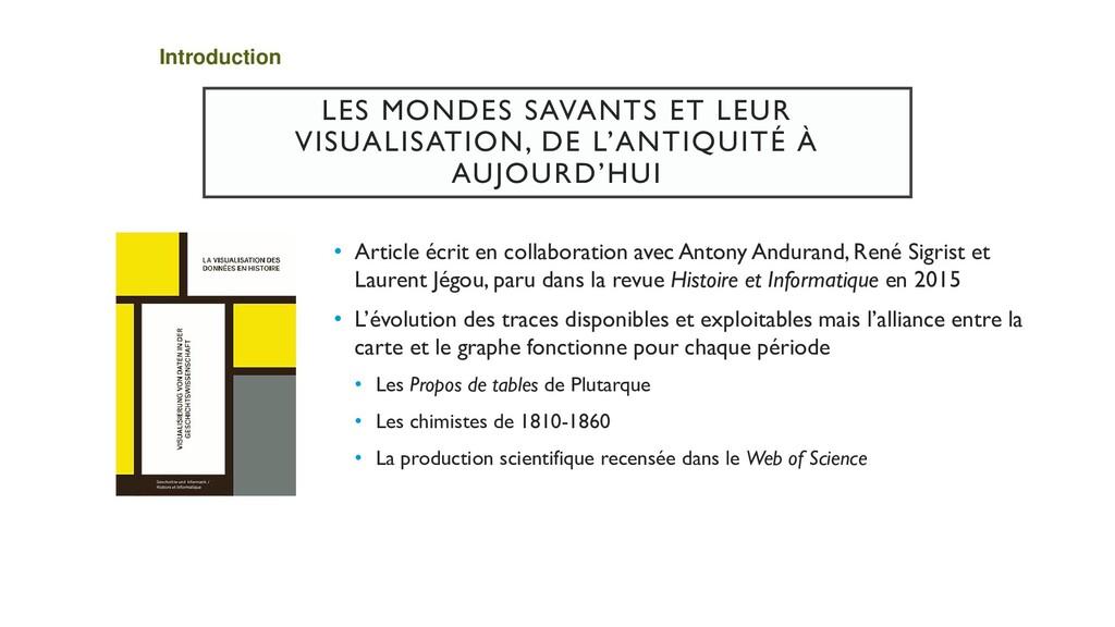 LES MONDES SAVANTS ET LEUR VISUALISATION, DE L'...