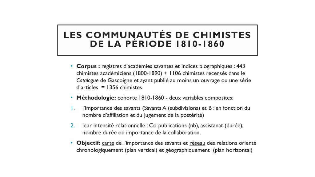 LES COMMUNAUTÉS DE CHIMISTES DE LA PÉRIODE 1810...