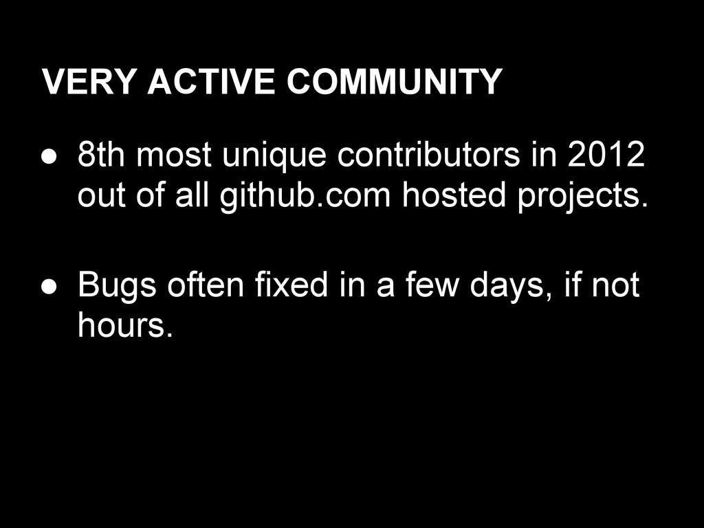 VERY ACTIVE COMMUNITY ● 8th most unique contrib...
