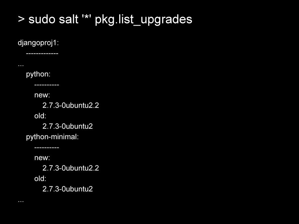 > sudo salt '*' pkg.list_upgrades djangoproj1: ...