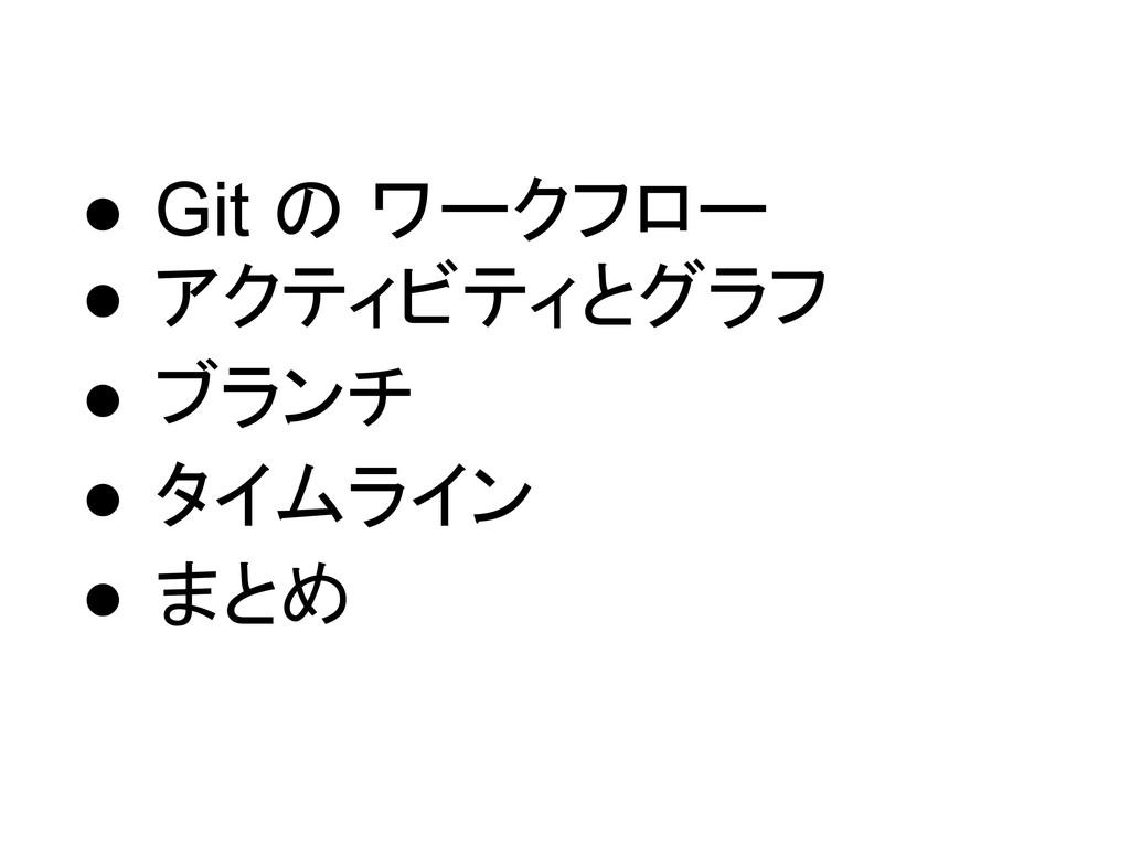 ● Git の ワークフロー ● アクティビティとグラフ ● ブランチ ● タイムライン ● ...