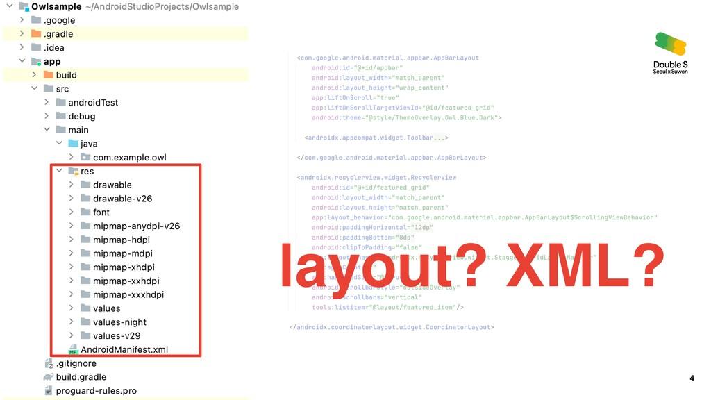 4 layout? XML?