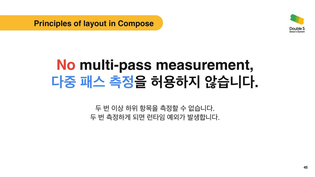 45 Principles of layout in Compose No multi-pas...