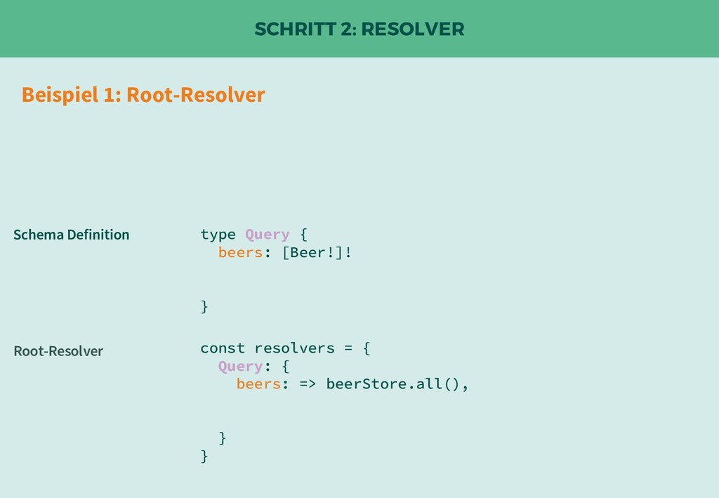 SCHRITT 2: RESOLVER const resolvers = { Query: ...