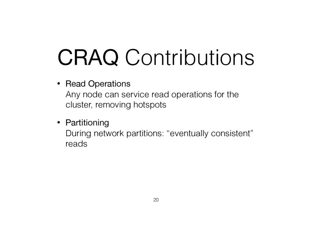 CRAQ Contributions • Read Operations Any node ...