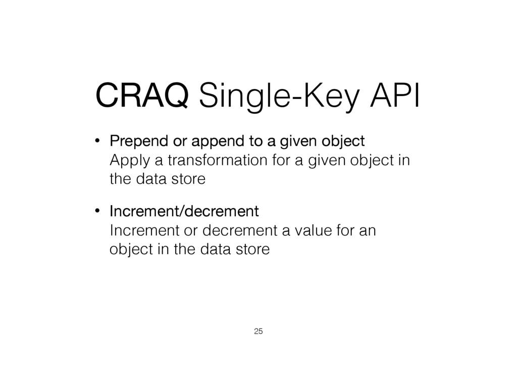 CRAQ Single-Key API • Prepend or append to a gi...