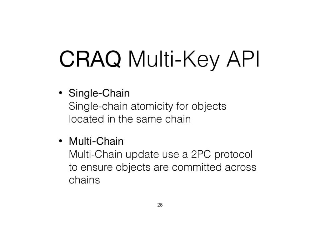 CRAQ Multi-Key API • Single-Chain Single-chain...