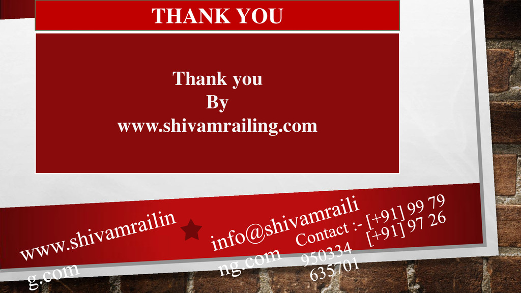 THANK YOU Thank you By www.shivamrailing.com