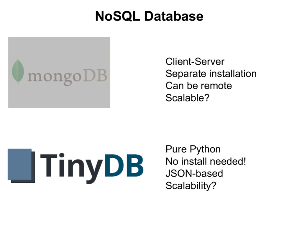 NoSQL  Database Client-­Server Separate  instal...