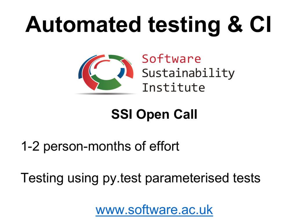 Automated  testing  &  CI SSI  Open  Call 1-­2 ...