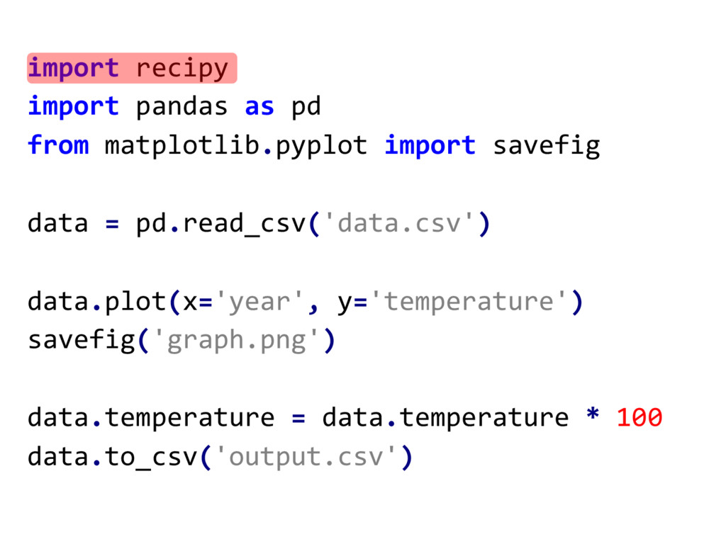import recipy import pandas  as pd from matplot...