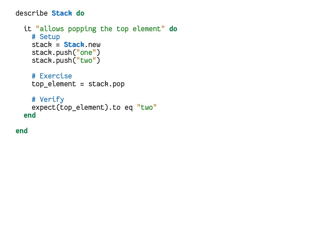 "describe Stack do it ""allows popping the top el..."