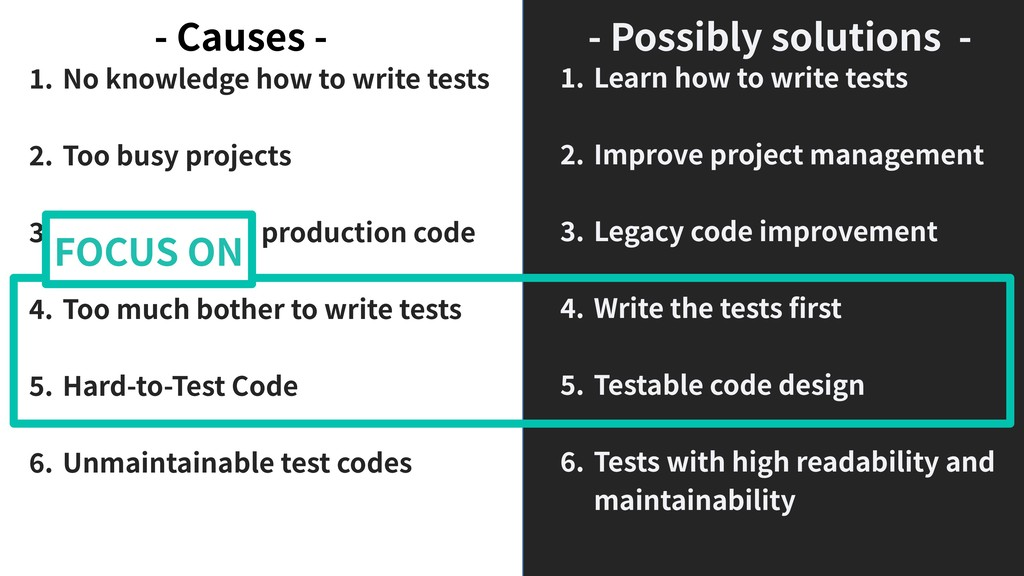 . No knowledge how to write tests . Too busy pr...