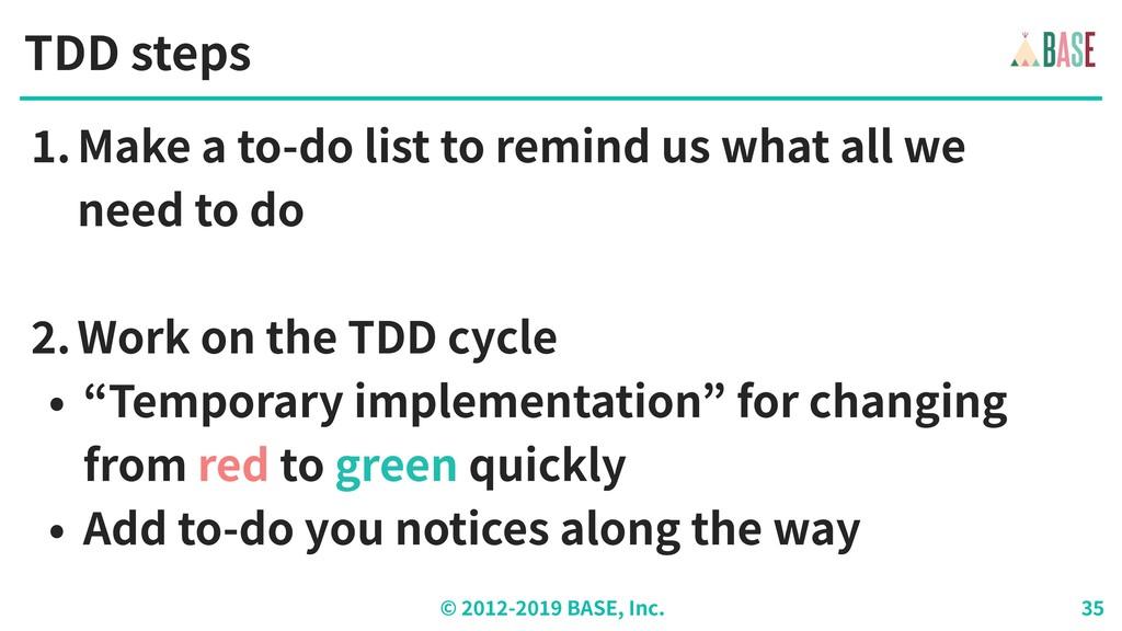 © - BASE, Inc. TDD steps .Make a to-do list to ...
