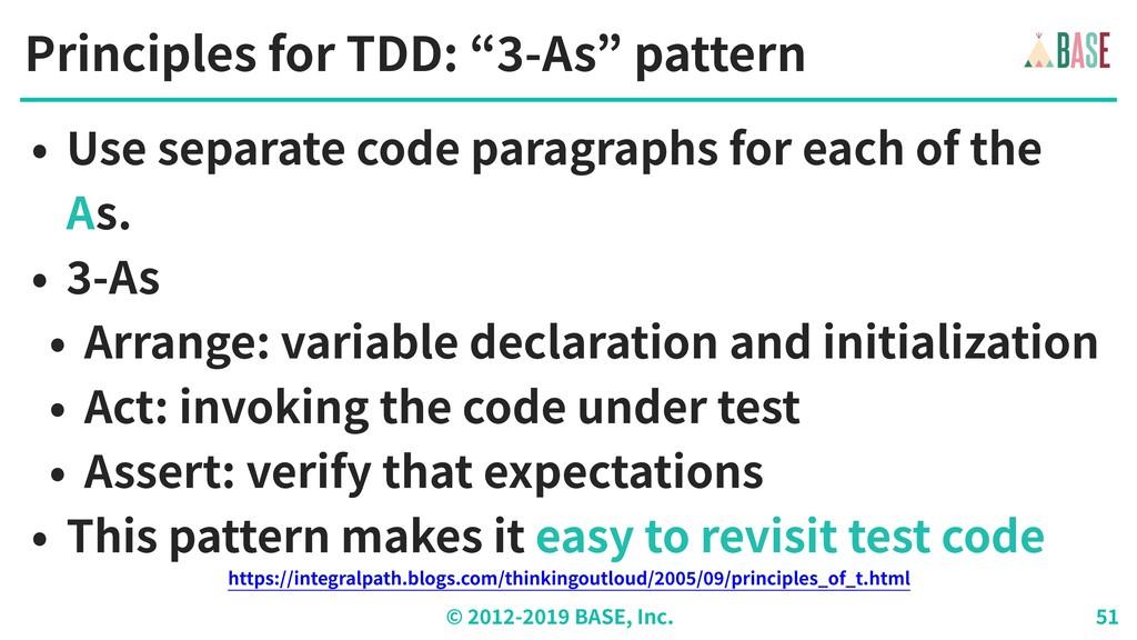 "© - BASE, Inc. Principles for TDD: "" -As"" patte..."