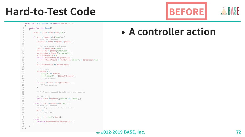 © - BASE, Inc. Hard-to-Test Code BEFORE • A con...