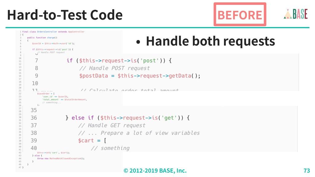 © - BASE, Inc. Hard-to-Test Code BEFORE • Handl...