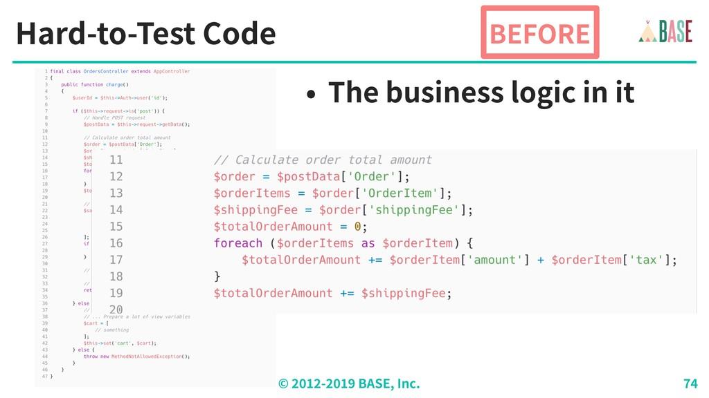 © - BASE, Inc. Hard-to-Test Code BEFORE • The b...