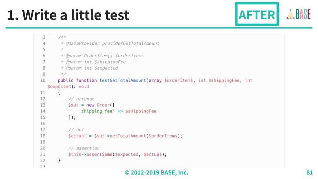 © - BASE, Inc. . Write a little test AFTER