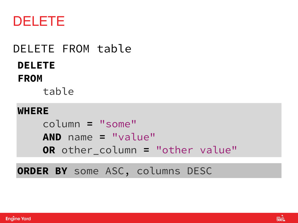 Proprietary and Confidential DELETE FROM table ...