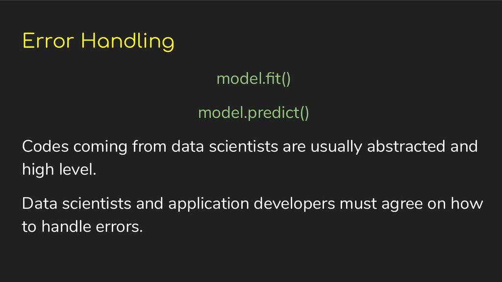 Error Handling model.fit() model.predict() Codes...