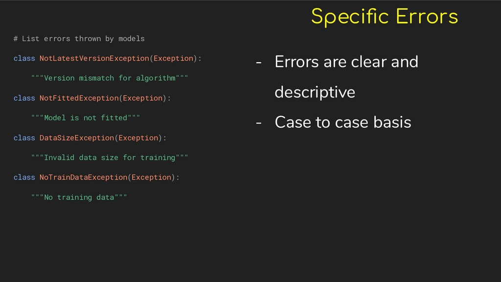 Specific Errors # List errors thrown by models c...