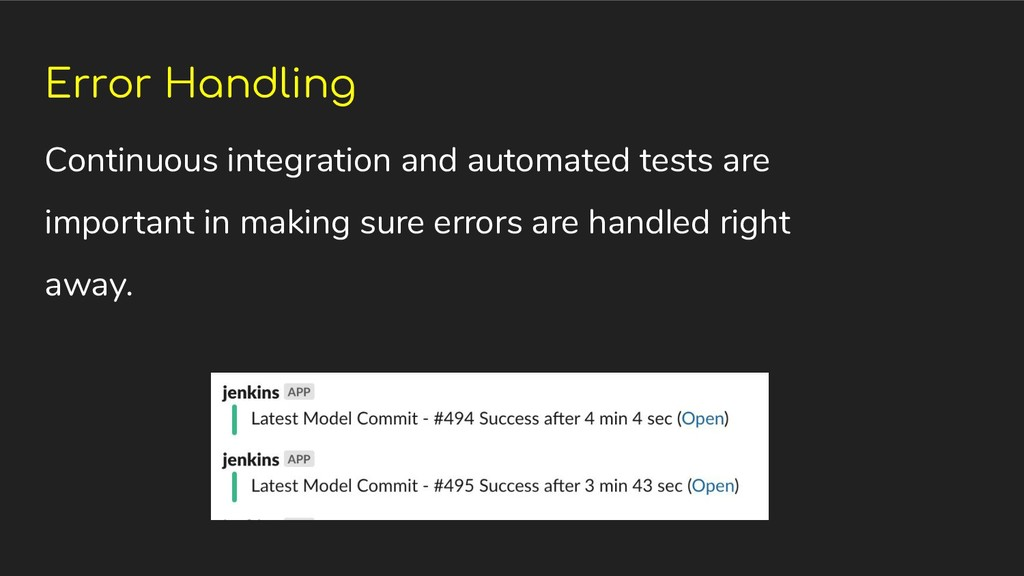 Error Handling Continuous integration and autom...
