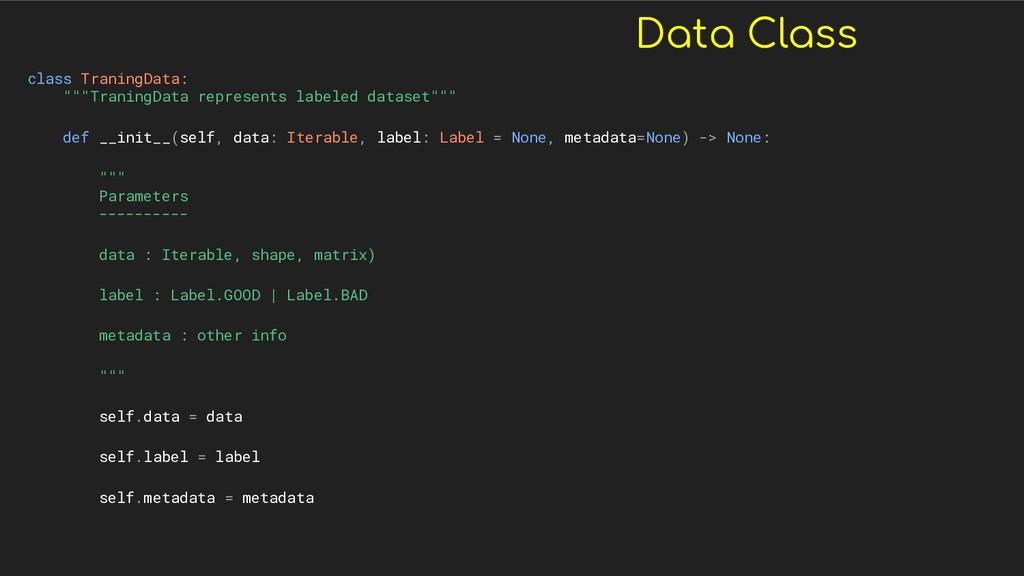 "Data Class class TraningData: """"""TraningData re..."
