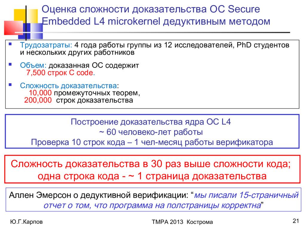 Ю.Г.Карпов ТМРА 2013 Кострома 21 Оценка сложнос...