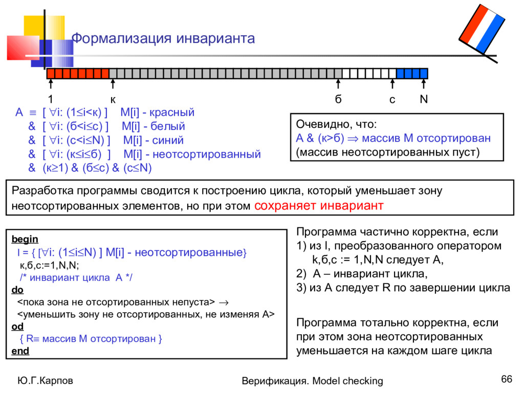 Ю.Г.Карпов Верификация. Model checking 66 Форма...