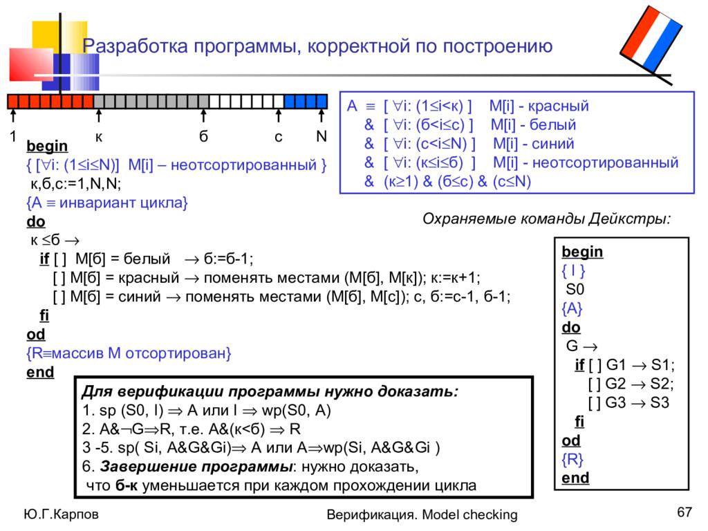 Ю.Г.Карпов Верификация. Model checking 67 Разра...
