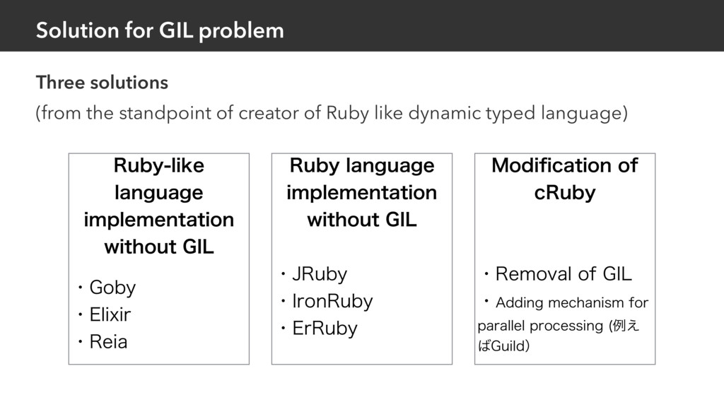 Solution for GIL problem Three solutions (from ...