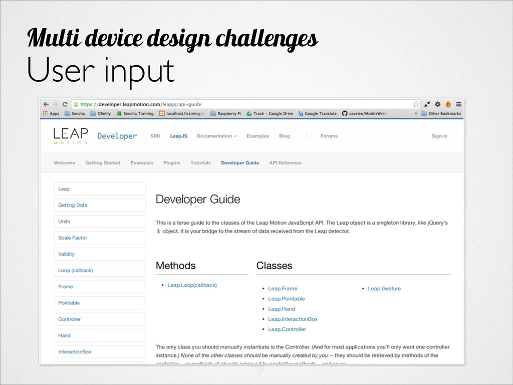User input Multi device design challenges