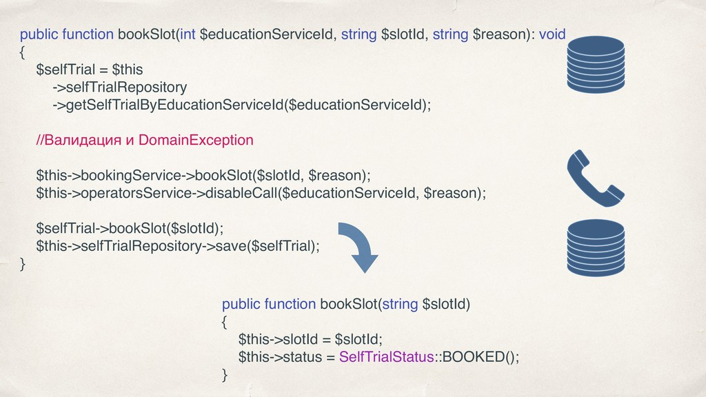 public function bookSlot(int $educationServiceI...