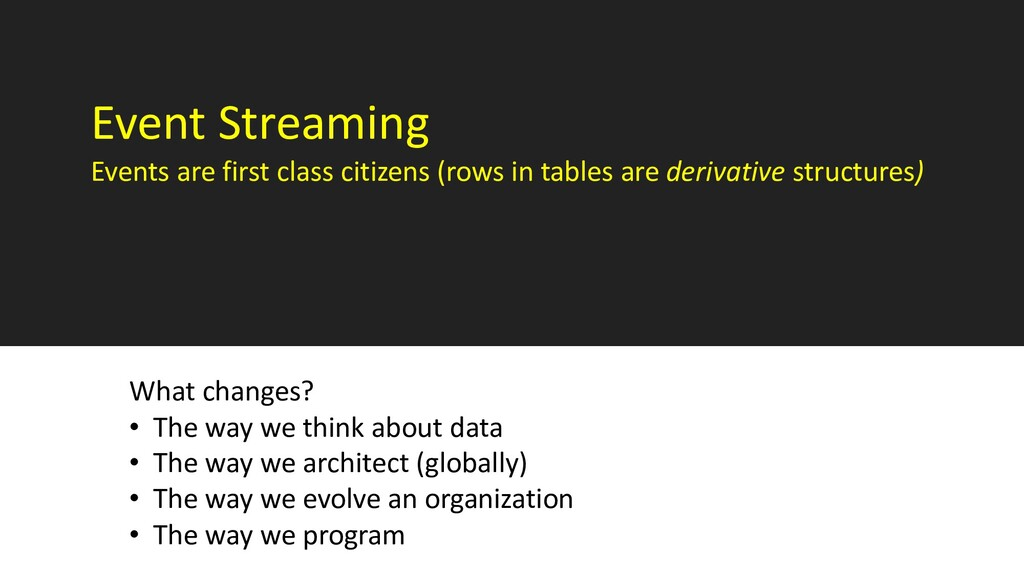 Event Streaming Events are first class citizens...