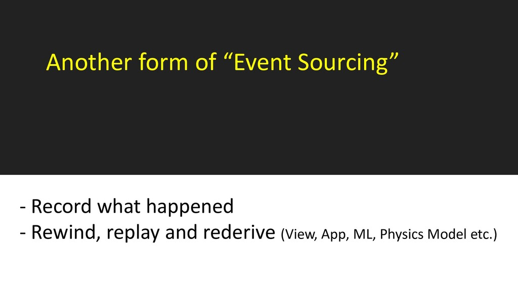 """Another form of """"Event Sourcing"""" - Record what ..."""