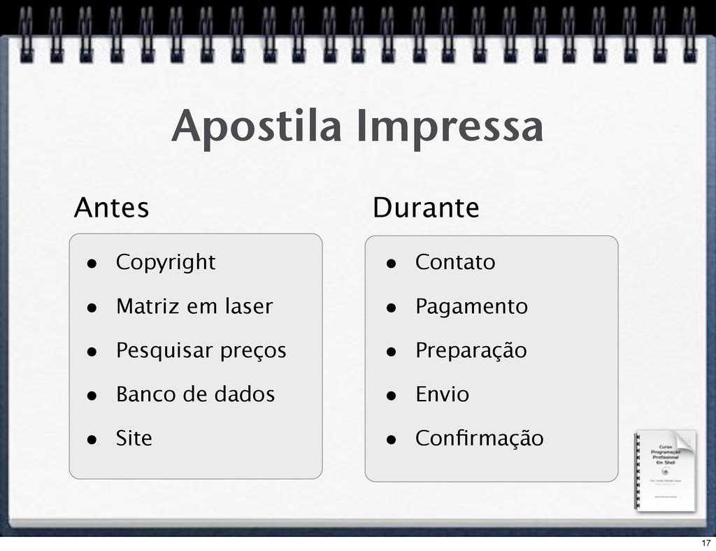 Apostila Impressa • Copyright • Matriz em laser...