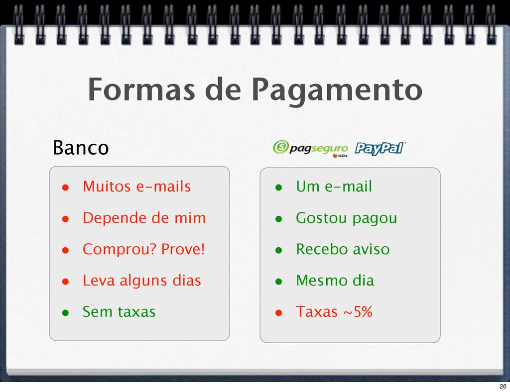 Formas de Pagamento • Muitos e-mails • Depende ...