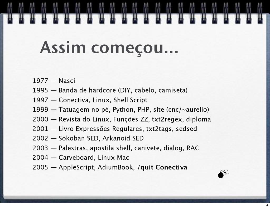 Assim começou... 1977 — Nasci 1995 — Banda de h...