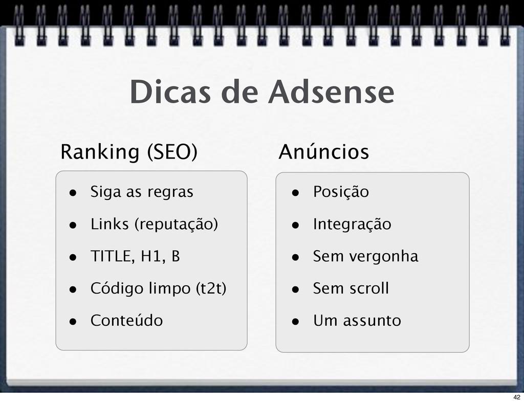 Dicas de Adsense • Siga as regras • Links (repu...