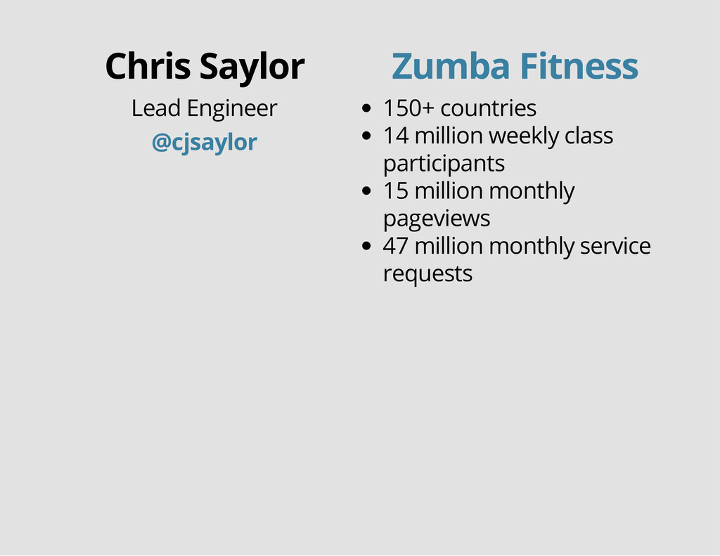 Chris Saylor Lead Engineer @cjsaylor 150+ count...