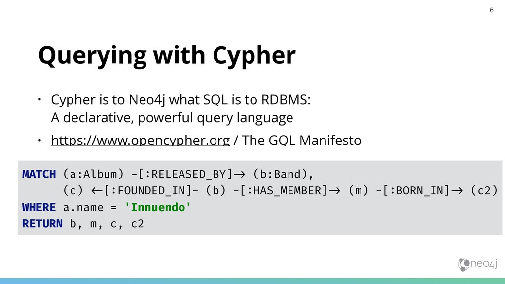 Querying with Cypher • Cypher is to Neo4j what ...
