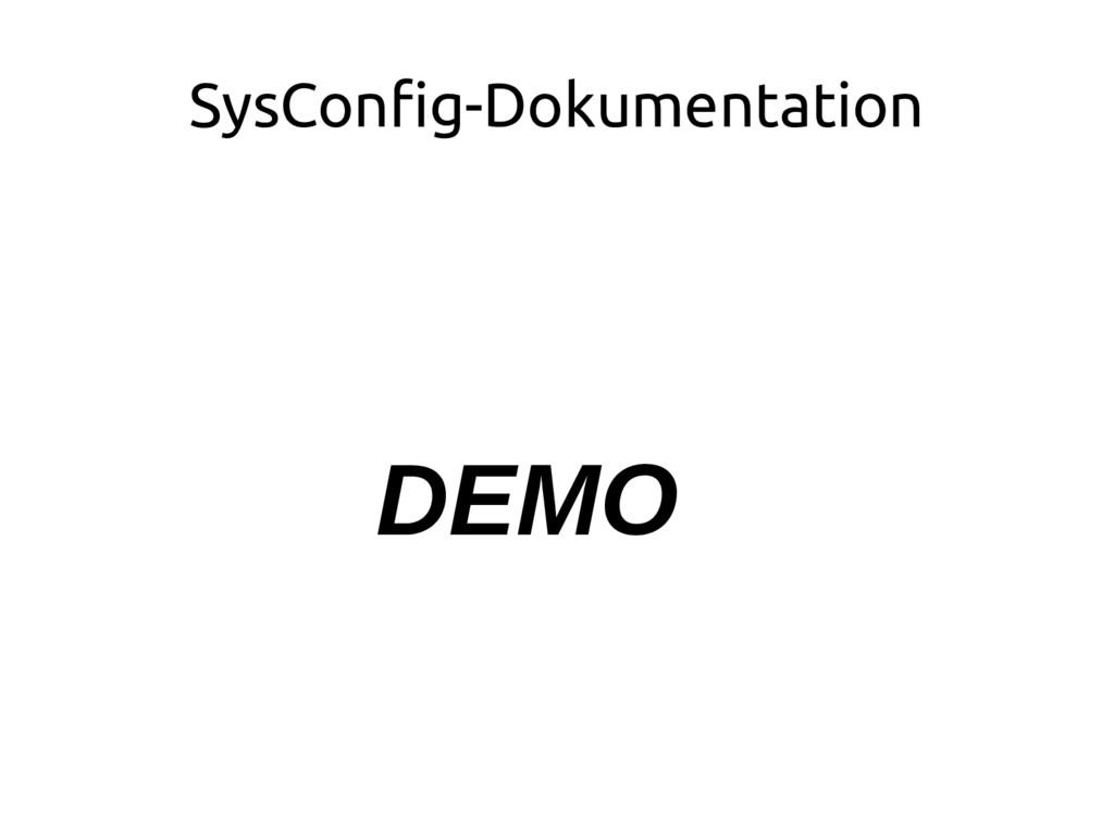 SysConfig-Dokumentation DEMO