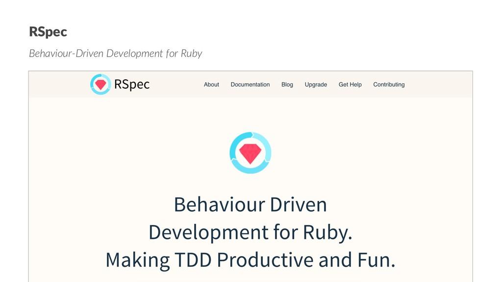 RSpec Behaviour-Driven Development for Ruby