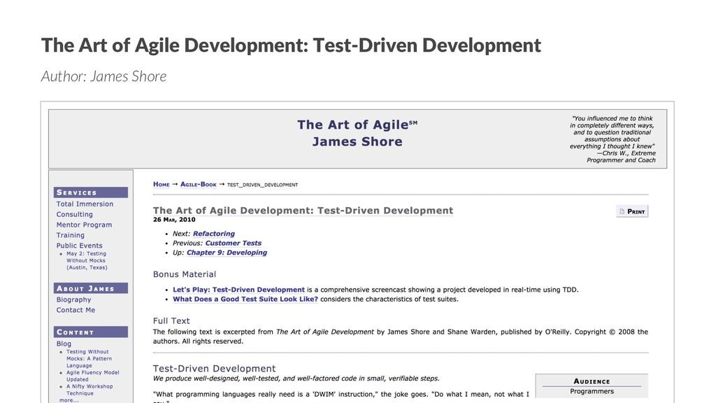 The Art of Agile Development: Test-Driven Devel...
