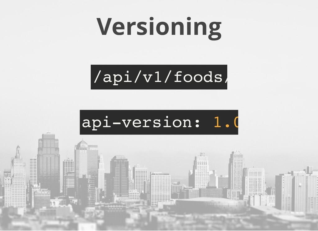 Versioning /api/v1/foods/ api-version: 1.0