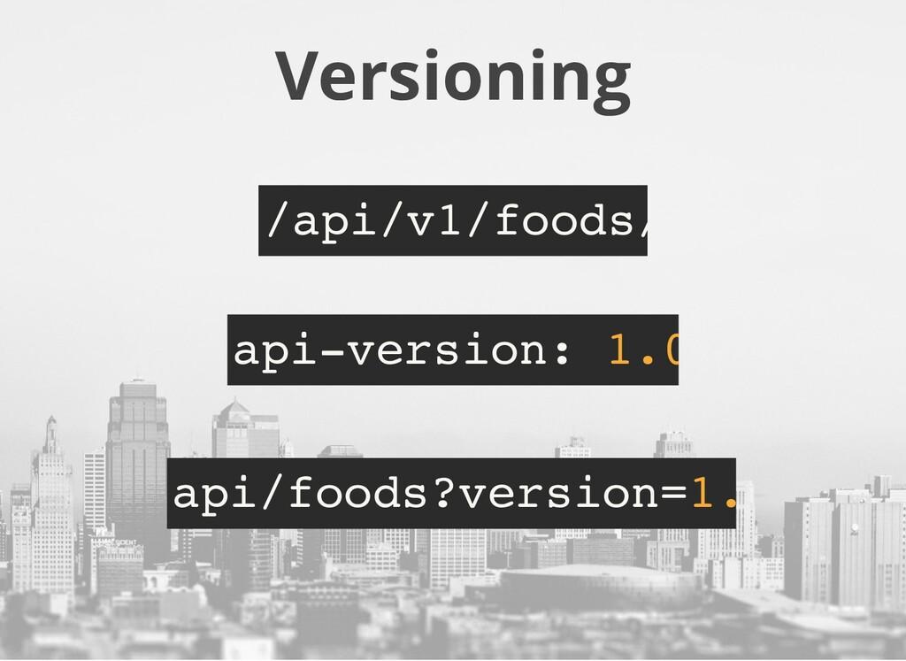 Versioning /api/v1/foods/ api-version: 1.0 api/...
