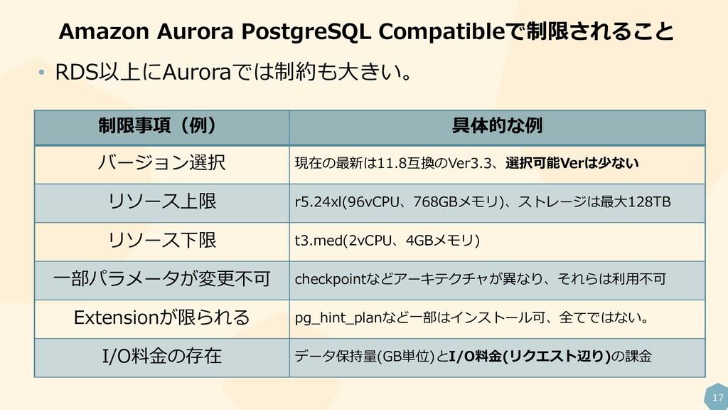 17 Amazon Aurora PostgreSQL Compatibleで制限されること ...
