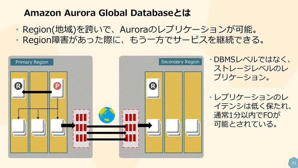 21 Amazon Aurora Global Databaseとは R P R • Regi...